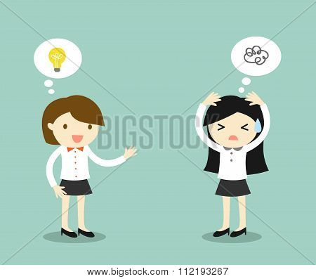 Business concept, business woman has idea but another business woman is stuck for an idea.