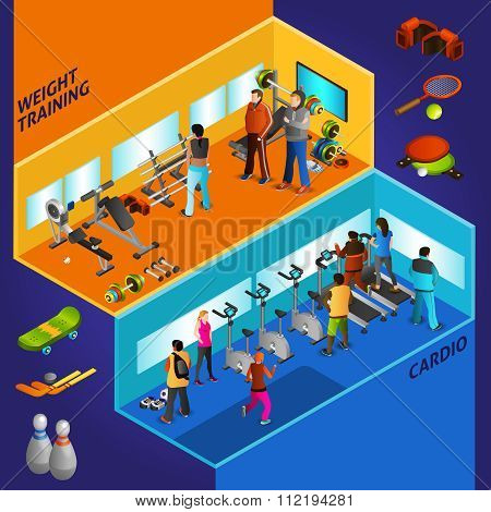 Sports Equipment Athletes Isometric Compositions