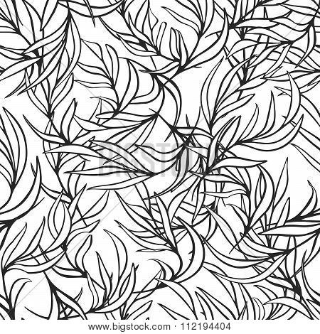 Natural leaves vector seamless pattern. Hand drawn tree branches. Ink doodle botanical print.