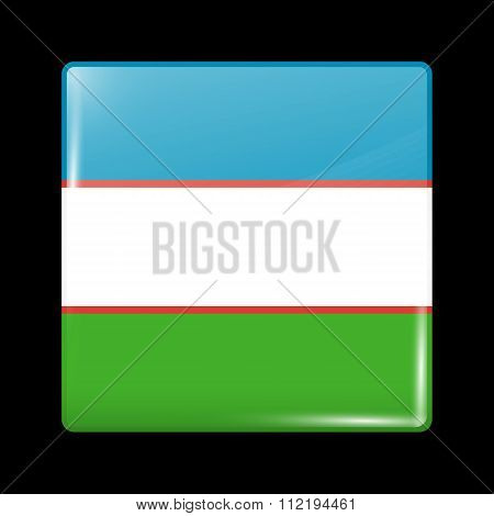 Uzbekistan Variant Flag. Glassy Icon Square Shape
