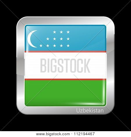 Flag Of Uzbekistan. Metallic Icon Square Shape
