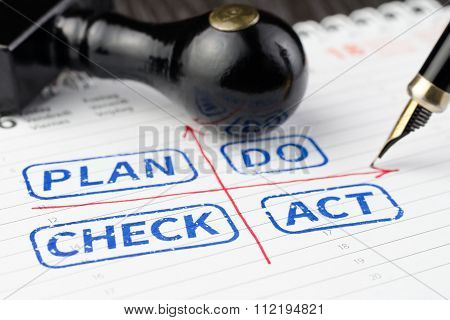 Plan Do Check Act Stamped On A Planner