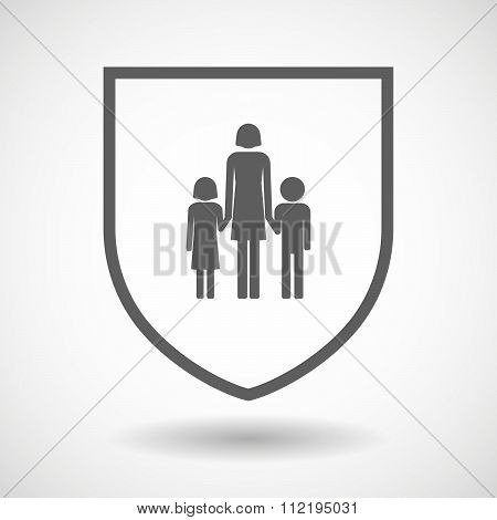 Line Art Shield Icon With A Female Single Parent Family Pictogram