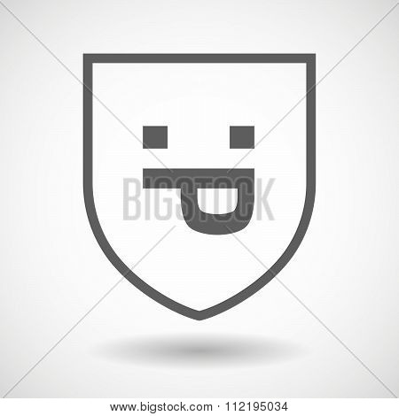 Line Art Shield Icon With A Sticking Out Tongue Text Face