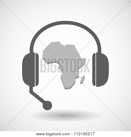 Assistance Headset Icon With  A Map Of The African Continent