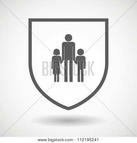 Line Art Shield Icon With A Male Single Parent Family Pictogram