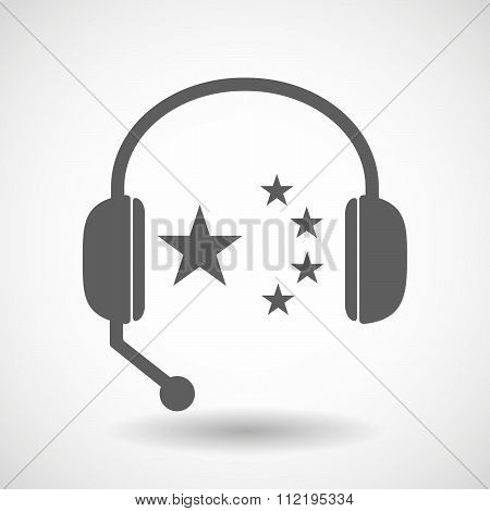 Assistance Headset Icon With  The Five Stars China Flag Symbol