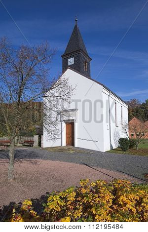 Small Church Building In Rassdorf, Hesse, Germany.