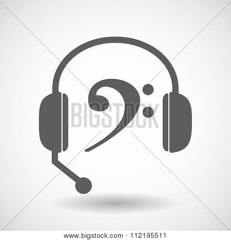 Assistance Headset Icon With An F Clef