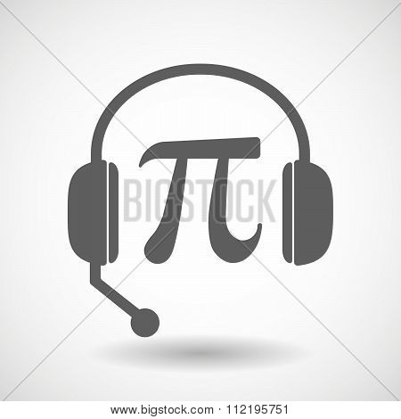 Assistance Headset Icon With The Number Pi Symbol
