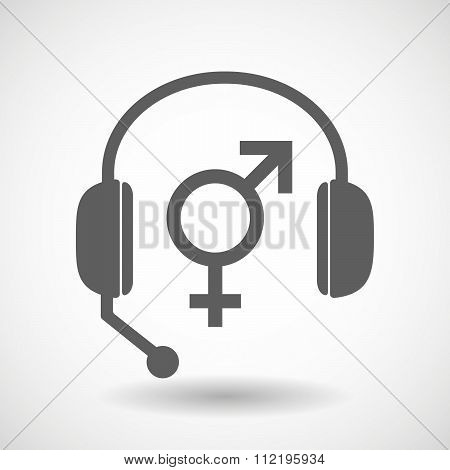 Assistance Headset Icon With A Transgender Symbol
