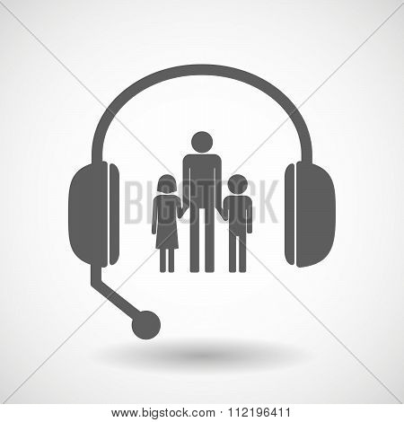 Assistance Headset Icon With A Male Single Parent Family Pictogram