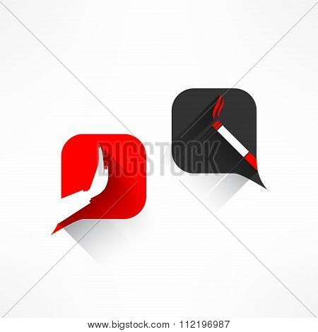 Vector no smoking dialog in modern flat design. Cigarette forbidden sign with long shadow. Health co