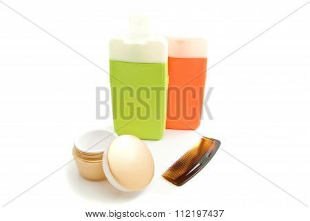 Two Bottles With Shampoo And Other Toiletry