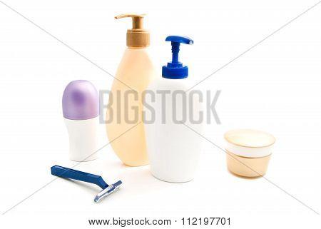 Deodorant, Gel, Cream And Blue Razor