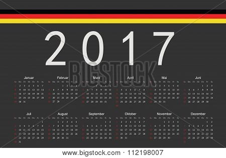 German Black 2017 Year Vector Calendar