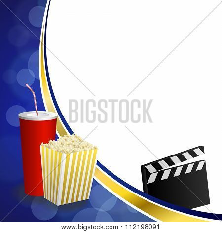 Background abstract blue gold drink popcorn movie clapper board frame illustration vector