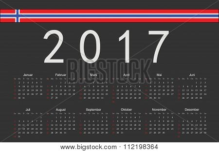 Norwegian Black 2017 Year Vector Calendar