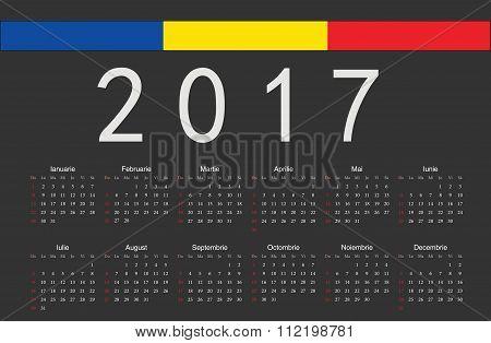 Romanian Black 2017 Year Vector Calendar