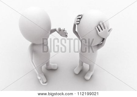 3D Man Advising Aconfused And Sad Man Concept