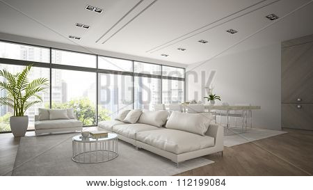 Interior of modern  loft with white sofa 3D rendering