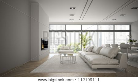 Interior of the loft with modern fireplace 3D rendering