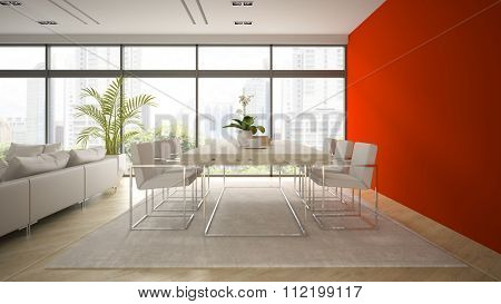 Interior of modern  loft with red wall 3D rendering