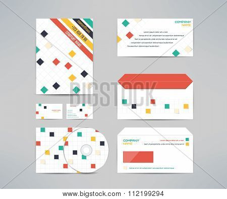 Vector corporate identity business kit with cd dvd cover, business card, envelope and letter head de