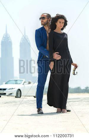Couple on the background of skyscrapers