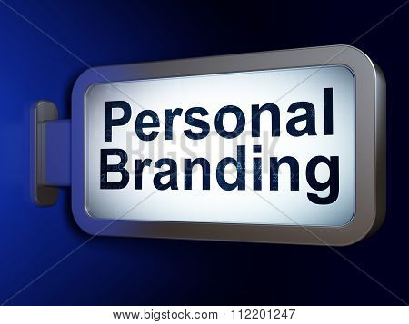 Advertising concept: Personal Branding on billboard background