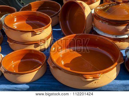 handmade terracotta containers used in Mediterranean cuisine