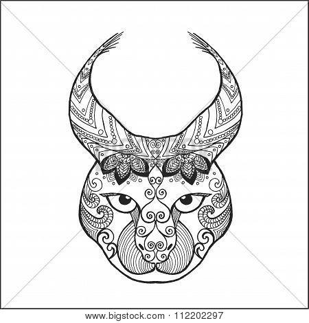 Zentangle stylized lynx.