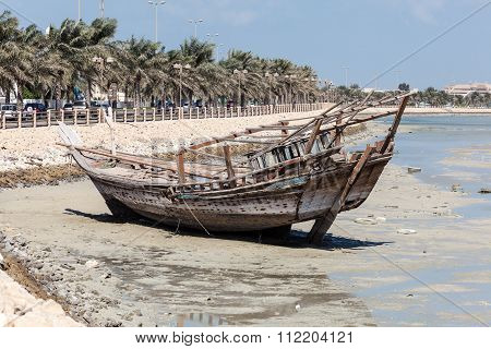 Old Wooden Dhow In Bahrain