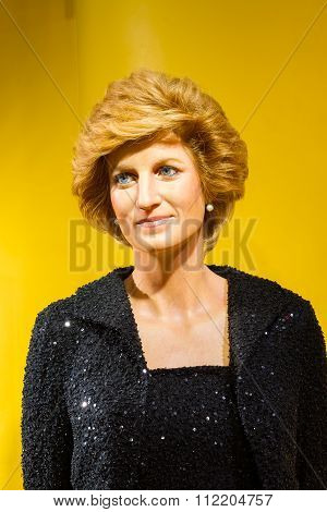 Bangkok, Thailand - December 19: Wax Figure Of The Famous Princess Diana From Madame Tussauds