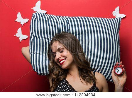 Beautiful Sleeping Woman In Pajamas Cami Top