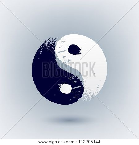 Yin Yang symbol painted with brush strokes.