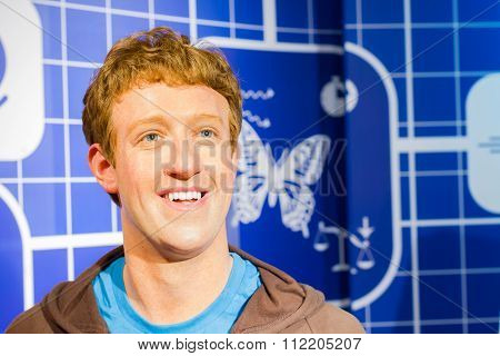 Bangkok, Thailand - December 19: Wax Figure Of The Famous Mark Zuckerberg From Madame Tussauds On De