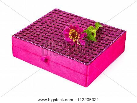 Bright Simple Magenta Box For Make-up, Jewelry, Decorations With Beautiful Flower
