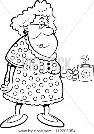 Cartoon old lady holding a coffee mug.
