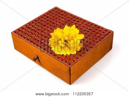 Bright Simple Brown Box For Make-up, Jewelry, Decorations With Beautiful Yellow Flower