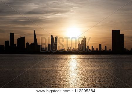 Skyline Of Manama At Sunset, Bahrain