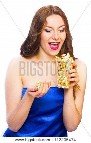Beautiful Woman Eating Popcorn