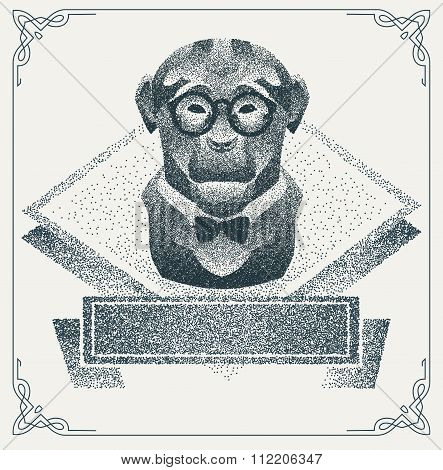 Halftone hipster monkey with black Dots. Vector Illustration.