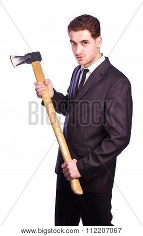 Businessman Holding An Ax