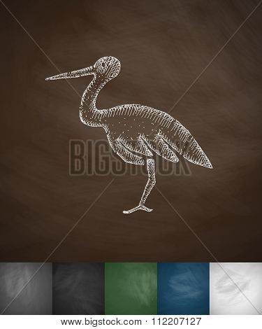 stork icon. Hand drawn vector illustration