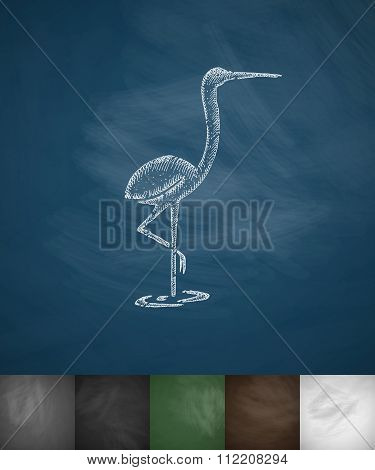 heron icon. Hand drawn vector illustration