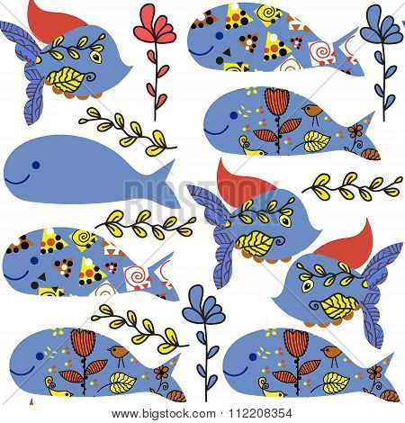 Cute Colorful  Seamless Pattern With Fantasy Fish And Whale  And Seamless Pattern In Swatch Menu, Ve