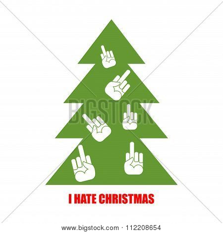 Christmas Tree For Bad Children. I Hate Christmas. Christmas Tree Decorated With Fuck. Antisocial Em