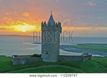 Oil Painting Ancient Irish Castle, West Coast Of Ireland
