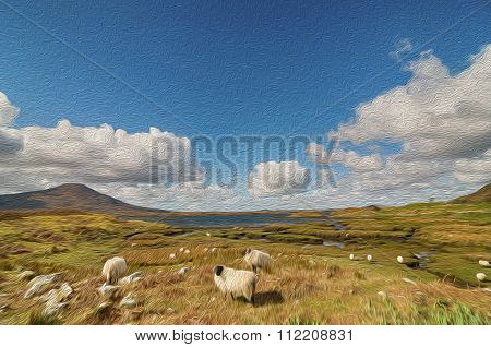 Oil Painting Showing Scenic Nature Capture In The West Of Ireland